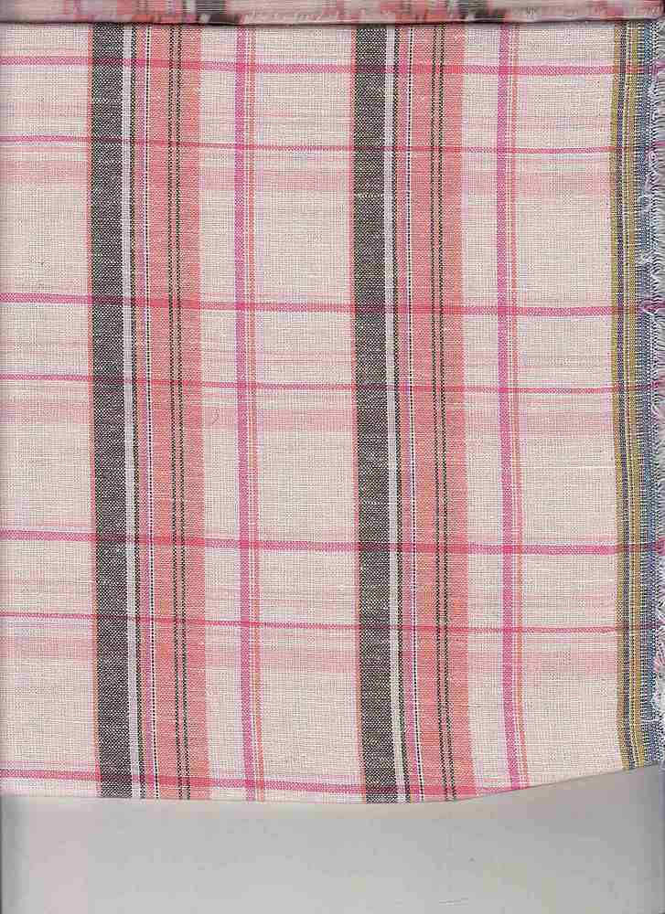 LIN-C-PLD-4439 / PINK / COTTON LINEN PLAID 70/30