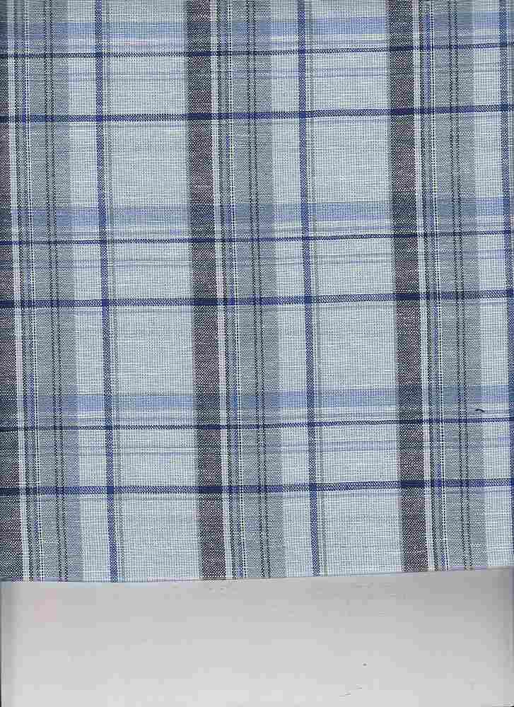 LIN-C-PLD-4439 / BLUE / COTTON LINEN PLAID 70/30
