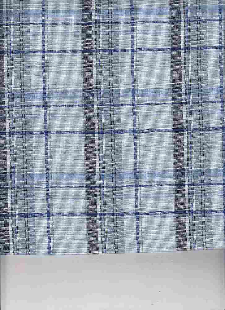 LIN-C-PLD-4439 / BLUE / COTTON LINEN PLAID 70/30