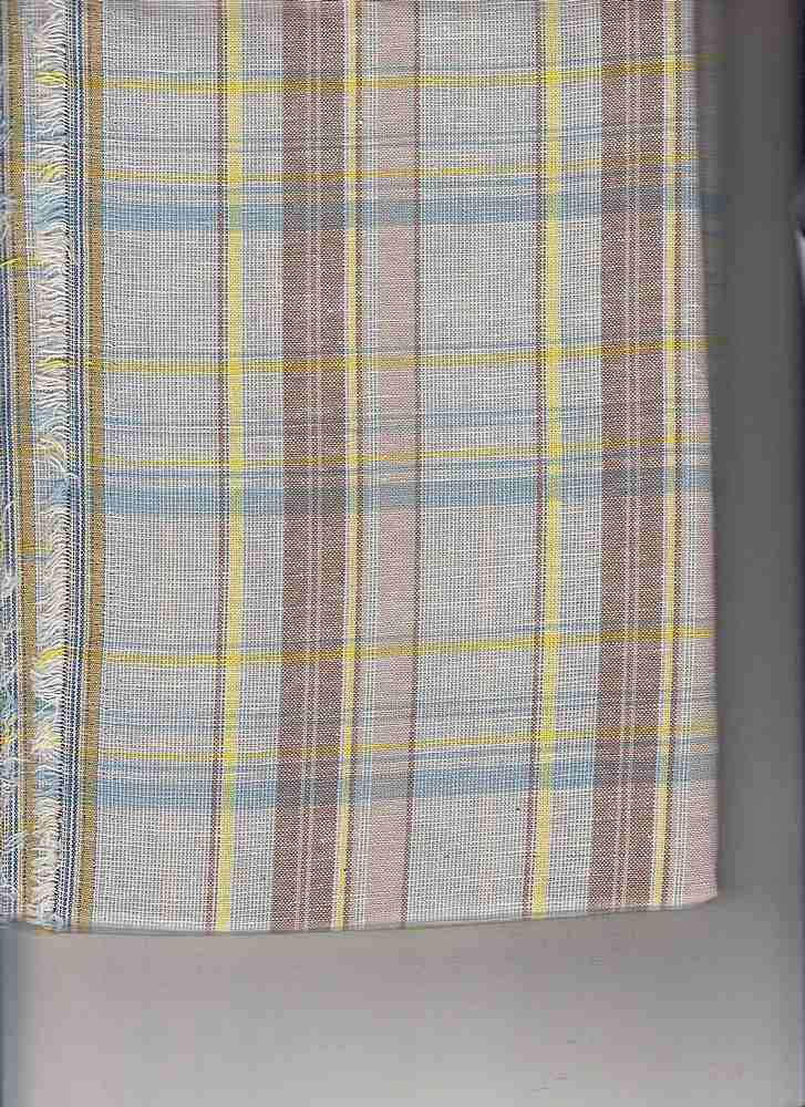 LIN-C-PLD-4439  / AQUA                 / COTTON LINEN PLAID  70/30