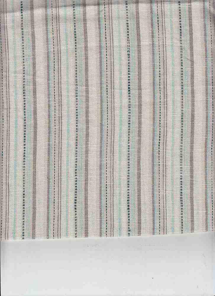 LIN-STP-2503 / AQUQ/WHITE / LINEN RAYON Y/D STRIPE 55/45