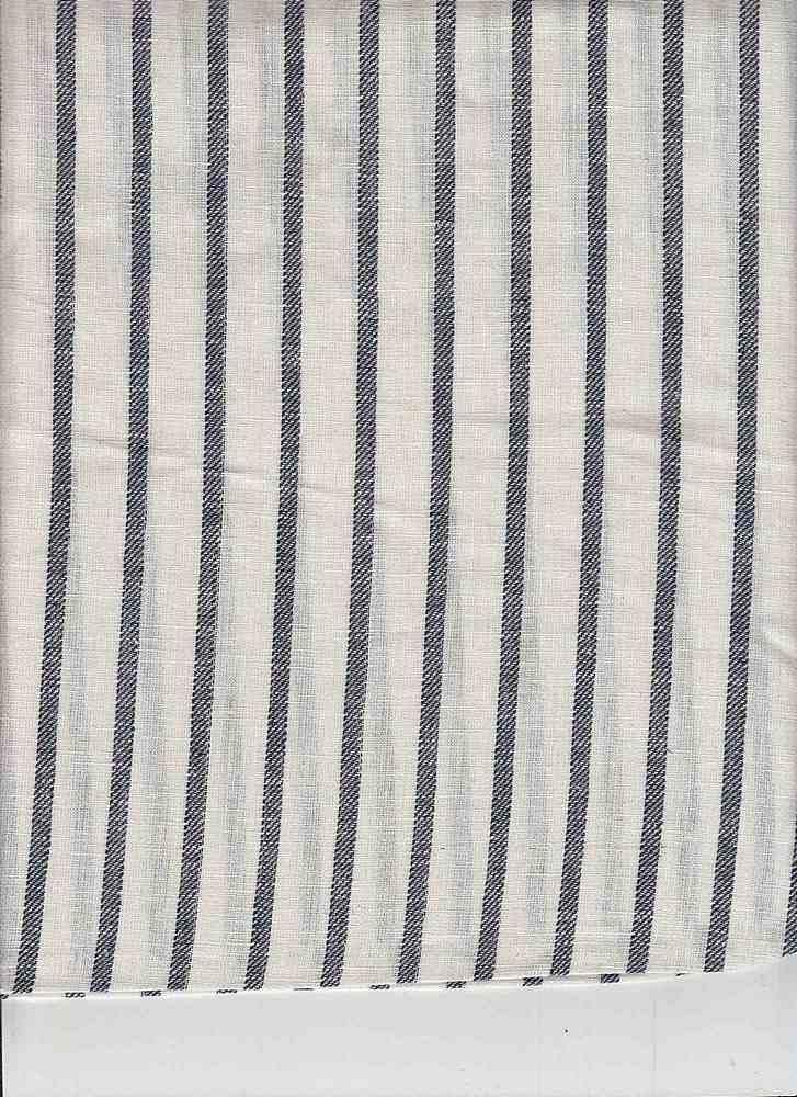 LIN-STP-018 / NAVY/WHITE / LINEN COTTON Y/D STRIPE 55/45