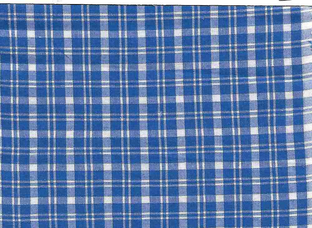 POPS-CHK-616-1 / ROYAL/WHITE / COTTON STRECH POPLIN CHECKER 97/3