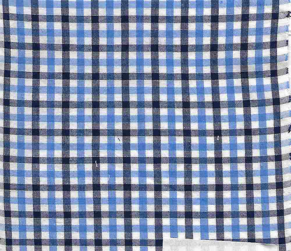 POPS-CHK-616-3 / BLUE/NAVY / COTTON STRETCH POPLIN CHECKER 97/3