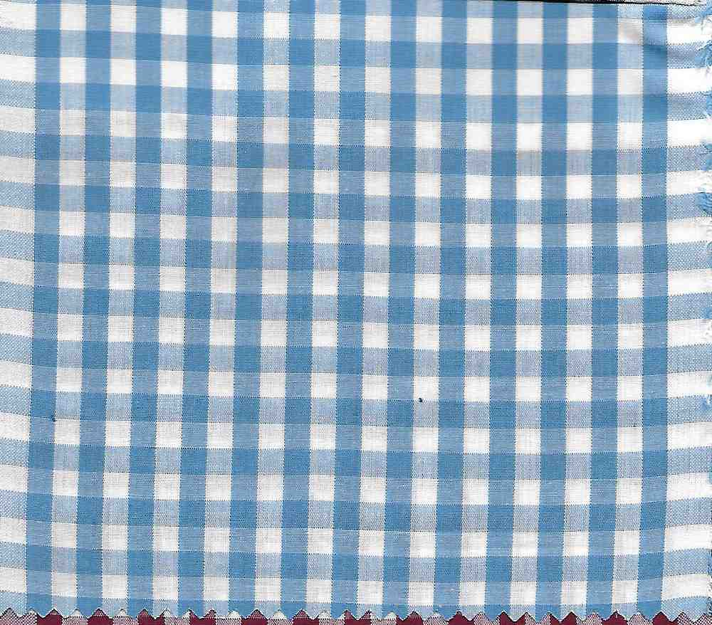 POP-CHK-1230 / SKY/WHITE / 100% COTTON POPLIN CHECKER