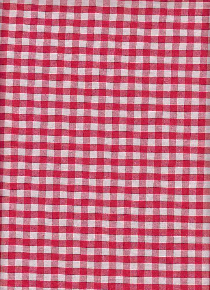 POP-CHK-1230 / RED/WHITE / 100% COTTON POPLIN CHECKER