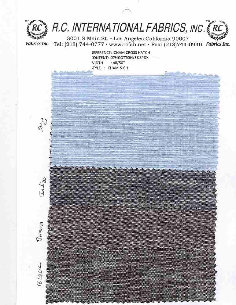 CHAM-S-CH / SKY / ST.CHAMBRAY CROSS-HATCH [97%CTN/3%SPDX]