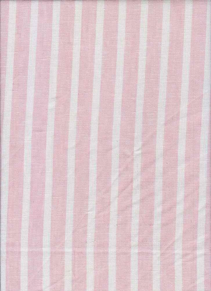 LIN-STP-018     / PEACH                 / LINEN COTTON Y/D STRIPE 55/45